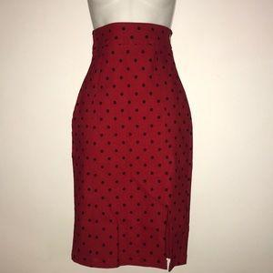Red and black polka dot pencil skirt